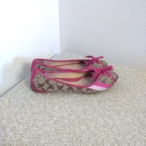 Coach Janelle Pink Leather Flat Shoes